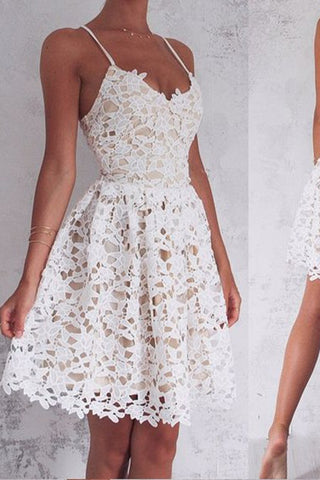 Ivory A-Line Spaghetti Straps Lace-Up Lace Short Homecoming Dress, Sweet 16 Dress, SH374