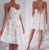 Ivory A-Line Spaghetti Straps Lace-Up Lace Short Homecoming Dress, Sweet 16 Dress at simidress.com