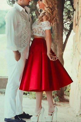 Cute Red Two Piece Lace Homecoming Dress, Short Prom Dress on line, SH376