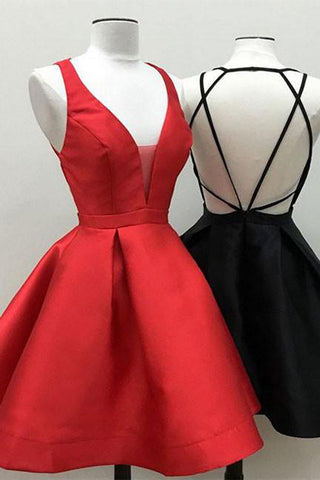 Black Little Dresses Red Homecoming Dress Sexy Short Prom Dresses Party Dress, SH377