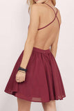 Chiffon Spaghetti Straps Homecoming Dress with Lace Top, Short Mini Grad Dress from simidress.com