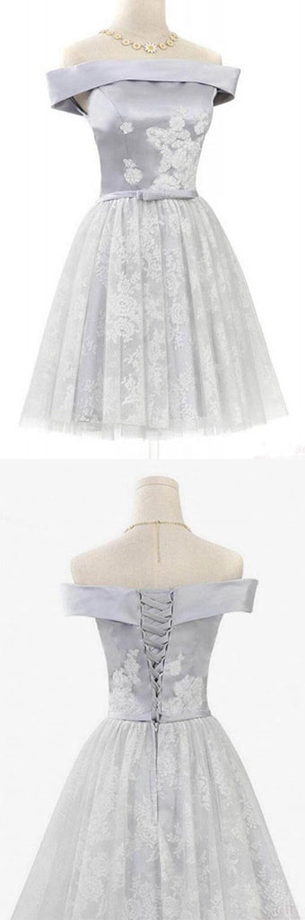 Cute Off Shoulder Short Prom Dress with Lace, Homecoming Dress with Belt|www.simidress.com