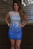 Silver and Royal Blue Homecoming Dress,Rhinestone Prom Dresses Short with Beads,SH37