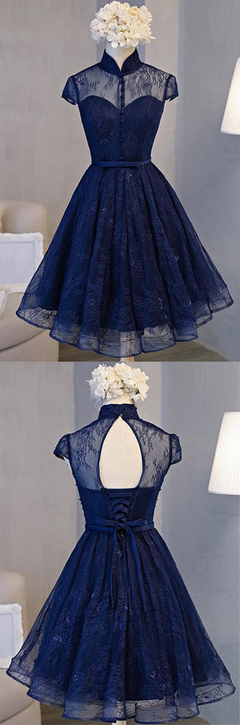 simidress offers Navy Blue Lace Retro A-line High Neck Short Sleeve Knee-length Homecoming Dress, SH380