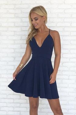 Navy Blue A-line Spaghetti Straps V-neck Backless Simple Homecoming Dresses, SH383