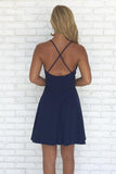Navy Blue A-line Spaghetti Straps V-neck Backless Simple Homecoming Dresses, SH383 at simidress.com