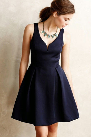 Unique Cocktail Dress V Neck Zipper Homecoming Dress Short Party Dresses, SH384
