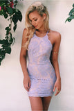 Simple Tight Lace Mermaid Open Back Short Prom Dresses, Homecoming Dress, SH385