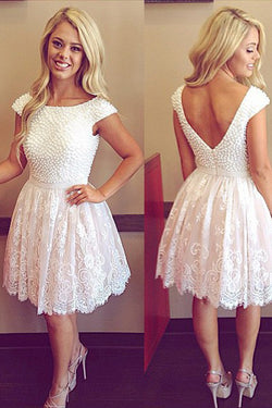White Short Prom Dresses With Pearls, Scoop Neck Cap Sleeve Homecoming Dress, SH386