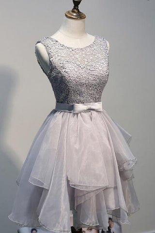 Grey Off shoulder Tulle Lace up Homecoming Dress, Short Prom Dresses, SH387