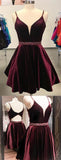 Burgundy Simple A-Line Spaghetti Straps Short Homecoming Dress with Beading, SH388 from simidress.com