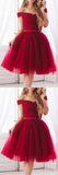 Burgundy Tulle Elegant A-Line Off Shoulder Short Homecoming Dress with Bowknot, SH389 at simidress.com