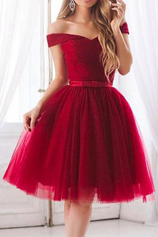 Burgundy Tulle Elegant A-Line Off Shoulder Short Homecoming Dress with Bowknot, SH389
