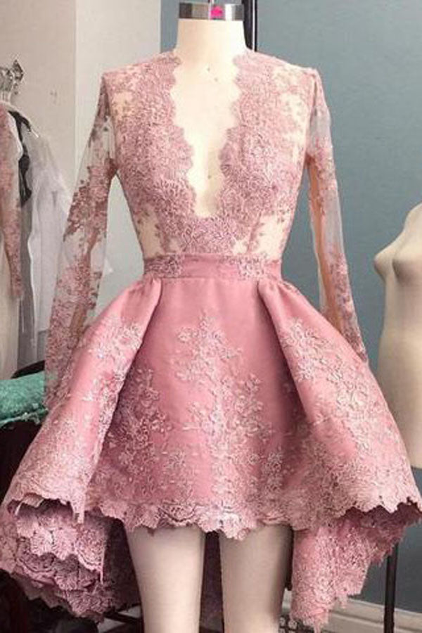 Pink Stylish A-Line Deep V-Neck Long Sleeve High Low Homecoming Dress, SH390