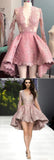 Pink Stylish A-Line Deep V-Neck Long Sleeve High Low Homecoming Dress, SH390 from www.simidress.com