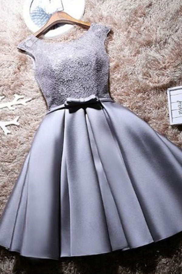 Grey Lace Satin A-Line Bateau Cap Sleeves Short Homecoming Dress with Bowknot, SH391