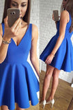 Cute Simple Blue V-neck Cheap Short Prom Dresses Homecoming Dresses, SH394