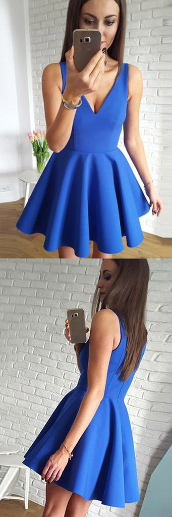 Cute Simple Blue V-neck Cheap Short Prom Dresses Homecoming Dresses, SH394 at simidress.com