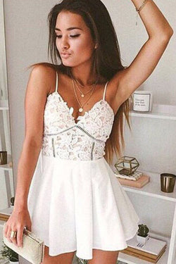 White Short Prom Dress, Spaghetti Straps Homecoming Dress, Graduation Gowns, SH395
