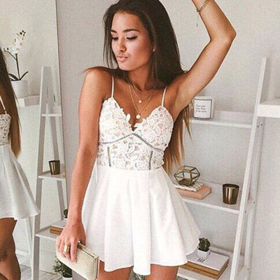 White Short Prom Dress, Spaghetti Straps Homecoming Dress, Graduation Gowns, SH395 from simidress.com