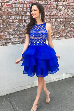 Cute Organza Skirt Royal Blue A-line Lace Top Short Homecoming Dresses, SH396
