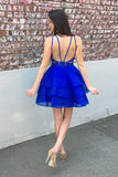 Cute Organza Skirt Royal Blue A-line Lace Top Short Homecoming Dresses, SH396 at simidress.com