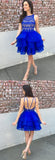 Simidress offer Cute Organza Skirt Royal Blue A-line Lace Top Short Homecoming Dresses, SH396
