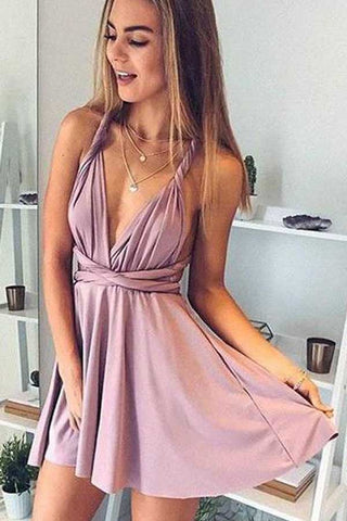 Simple Dusty Pink Cheap Short Prom Dress, Cute Homecoming Dresses on Line, SH397