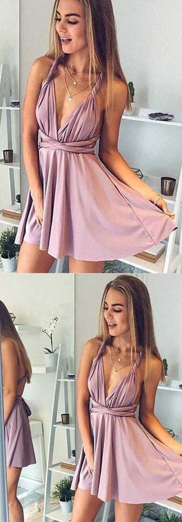 Simple Dusty Pink Cheap Short Prom Dress, Cute Homecoming Dresses on Line, SH397 at simidress.com