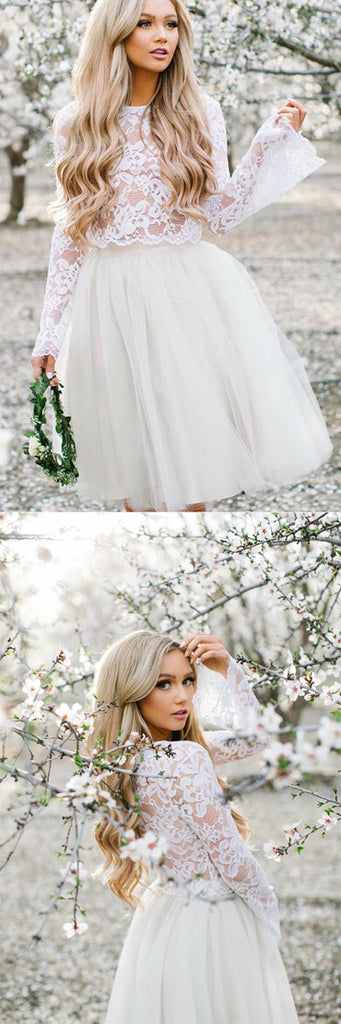 White Tulle Long Sleeve Lace Two Pieces Short Homecoming Dresses Online, SH398 at simidress.com