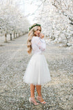 White Tulle Long Sleeve Lace Two Pieces Short Homecoming Dresses Online, SH398|simidress.com