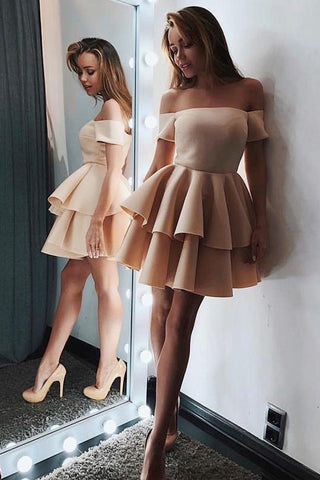 Chic Off Shoulder Mini Short Prom Dress, Cocktail Dress, Homecoming Dresses, SH399