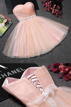 Blush Pink Tulle Strapless Sweetheart Neck Homecoming Dress, Short Prom Dresses, SH400