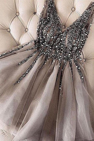 Grey V Neck Tulle Short Prom Dresses Rhinestone Beaded Homecoming Dresses, SH402