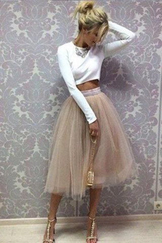 Chic Two Piece Scoop Long Sleeve Homecoming Dresses, Short Prom Dress, SH403