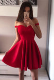 Red Sleeveless Simple A-line Off-shoulder Short Prom Dress, Homecoming Dresses, SH405