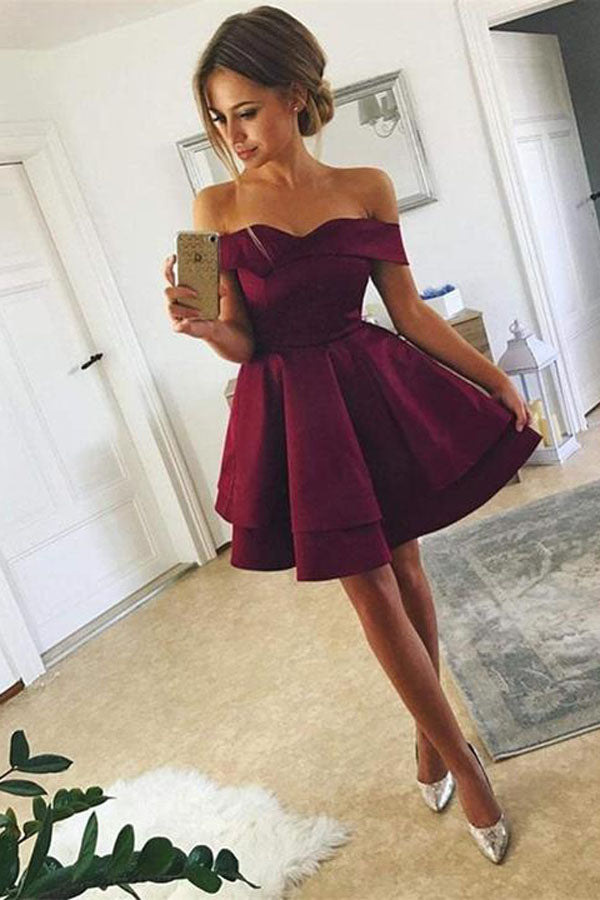 New Arrival Off-shoulder Simple Cute Homecoming Dresses Short Satin Prom Dress, SH407