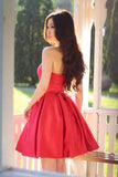 Red Sleeveless Simple Sweetheart Pleated Homecoming dresses, Party Dresses Short SH406 at simidress.com