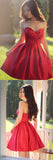 Red Sleeveless Simple Sweetheart Pleated Homecoming dresses, Party Dresses Short|www.simidress.com