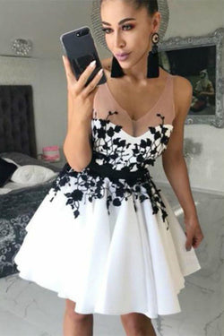 Black Lace Sleeveless White A-line Appliques Short Prom Dress Homecoming Dress, SH408