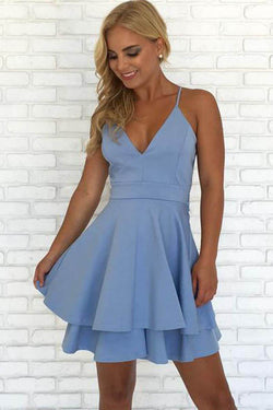 Simple Blue Spaghetti Straps V Neck Short Prom Dress Homecoming Dress, SH412