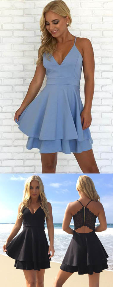 Simple Blue Spaghetti Straps V Neck Short Prom Dress Homecoming Dress sold by www.simidress.com