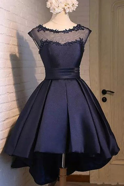 Charming Navy blue Satin Classy Party Dress, Graduation Dress, Homecoming Dress, SH413