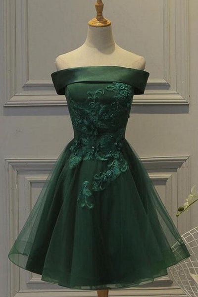 Dark Green Tulle Off Shoulder A Line Homecoming Dress with Appliques, SH414