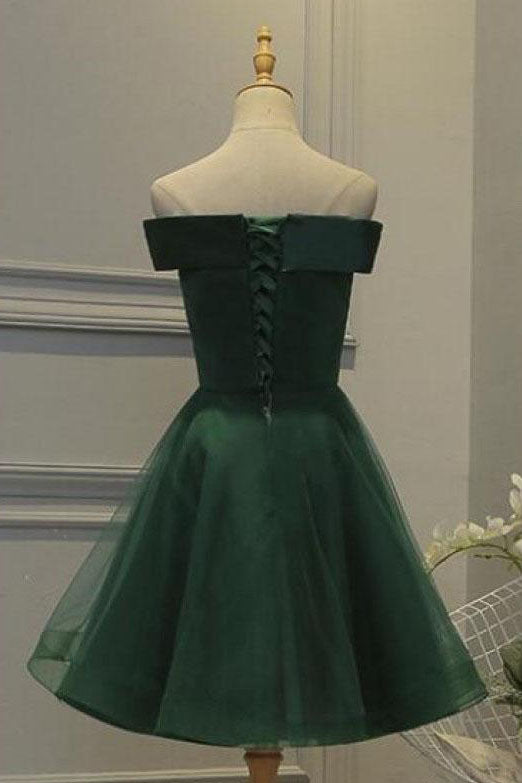 Dark Green Tulle Off Shoulder A Line Homecoming Dress with Appliques, SH414 at simidress.com