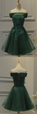 Dark Green Tulle Off Shoulder A Line Homecoming Dress with Appliques of simidress.com