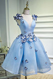 Charming Sky Blue Homecoming Dresses Butterfly Short Party Dress With Applique, SH415