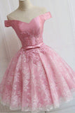 Charming Pink Off Shoulder A line homecoming dresses with Appliques, SH416