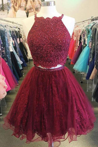 Cute Red A-line Halter Two Piece Lace Short Prom Dress Homecoming Dresses, SH418