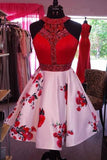 Beautiful Pink A-line Halter Red Homecoming Dress, Short Prom Dress, SH413